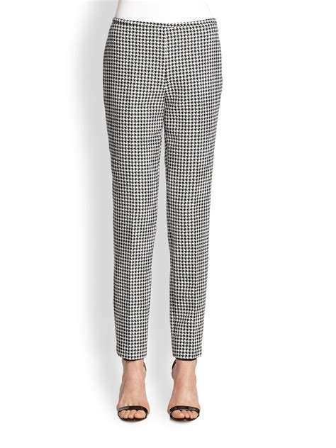 michael kors black and white pattern lyst michael kors houndstooth jacquard skinny pants in black