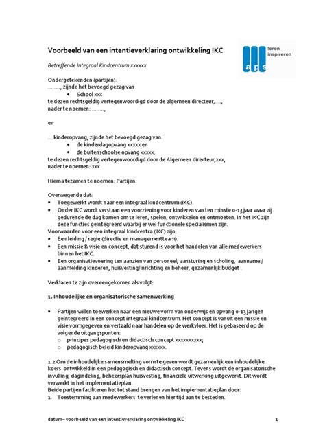 Letter Of Intent Voorbeeld Voorbeeld Intentieverklaring Ontwikkeling Ikc