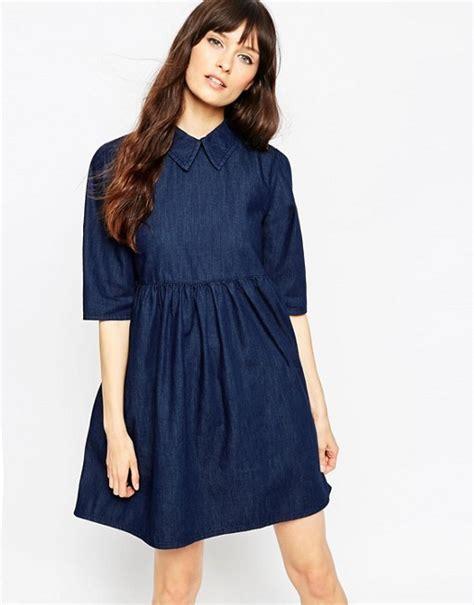 Dress Baby Doll Denim asos asos denim babydoll dress in blue