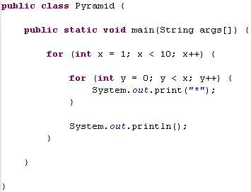java program to print pyramid pattern of stars java pyramids for loop exle
