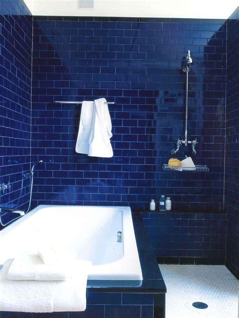 deep dark blue bathroom interiors  color
