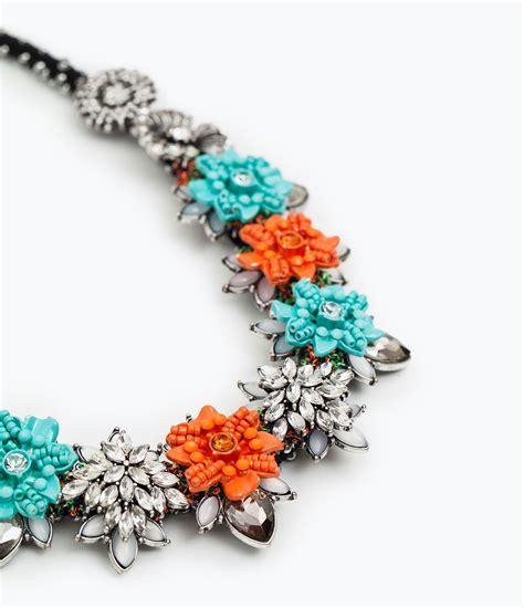 enamel flowers for jewelry zara enamel flower necklace in silver lyst