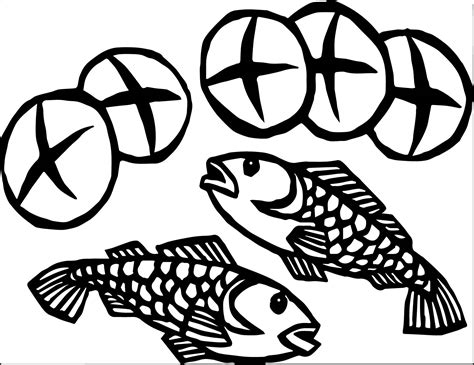coloring pages of fish and bread 2 fish and 5 loaves of bread coloring page coloring pages