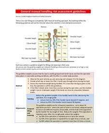 risk assessment for manual handling template sle manual handling risk assessment 8 documents in