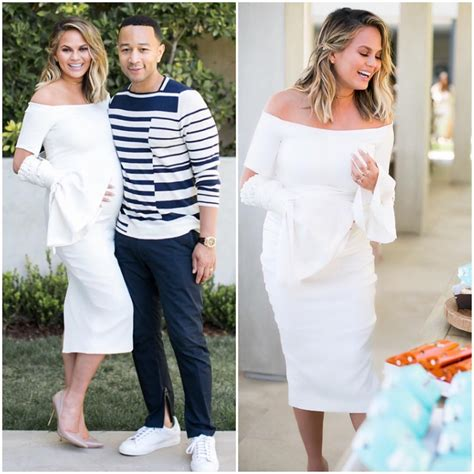 What Is Appropriate To Wear To A Baby Shower by Splurge Chrissy Teigen S Baby Shower Ellery White Claude The Shoulder Satin Crepe Dress