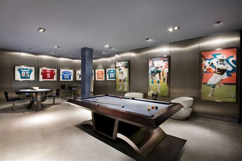 sports bar family room transitional with sub zero