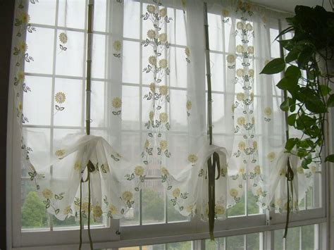 Sheer Cafe Curtains Country Embroidered Balloon Shade Sheer Voile Cafe Kitchen Curtain 003 Ebay