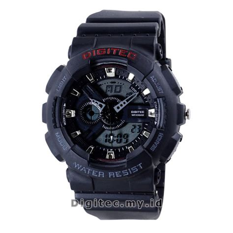 Jam Tangan Pria Digitec Dg2032 Dualtime Black digitec dg 2020t black jam tangan sport anti air murah
