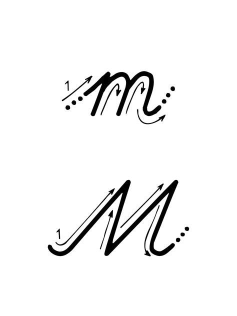 lettere alfabeto in corsivo maiuscolo e minuscolo lettere e numeri lettera m con indicazioni movimento