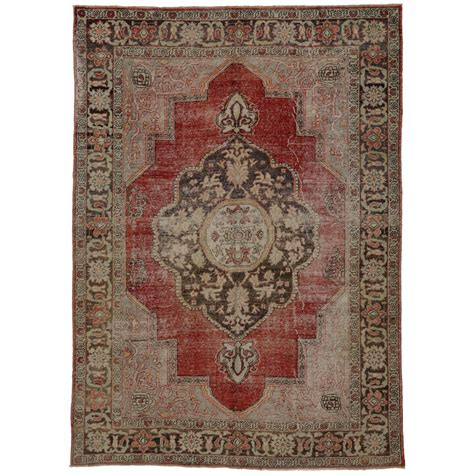 retro rugs for sale distressed vintage turkish oushak area rug with modern industrial design for sale at 1stdibs
