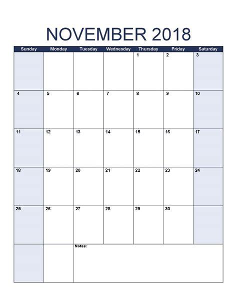november calendar template november 2018 calendar template