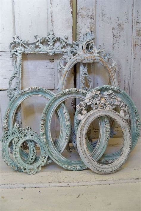 blue ornate large frame grouping shabby chic distressed cottage wall
