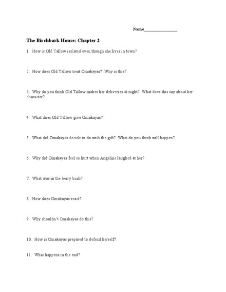 the birchbark house chapter 2 lesson plan for 7th 12th
