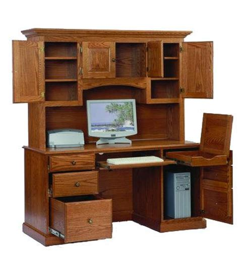 Solid Oak Computer Desk With Hutch Amish Computer Desk With Hutch
