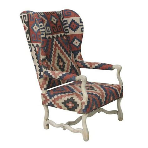 Aztec Chair by Nuloom Southwestern Aztec Navajo Dhurrie Kilim High Back Arm Chair