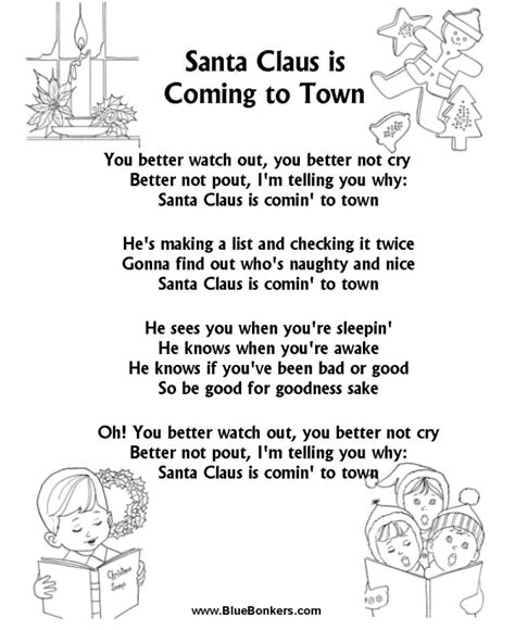 printable lyrics for santa claus is coming to town bluebonkers santa claus is coming to town free printable