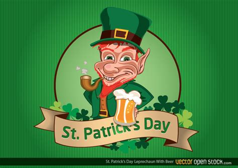 st patrick s day leprechaun with beer free vector