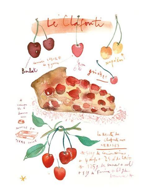 printable pie recipes kitchen art print pie recipe illustration french cherry