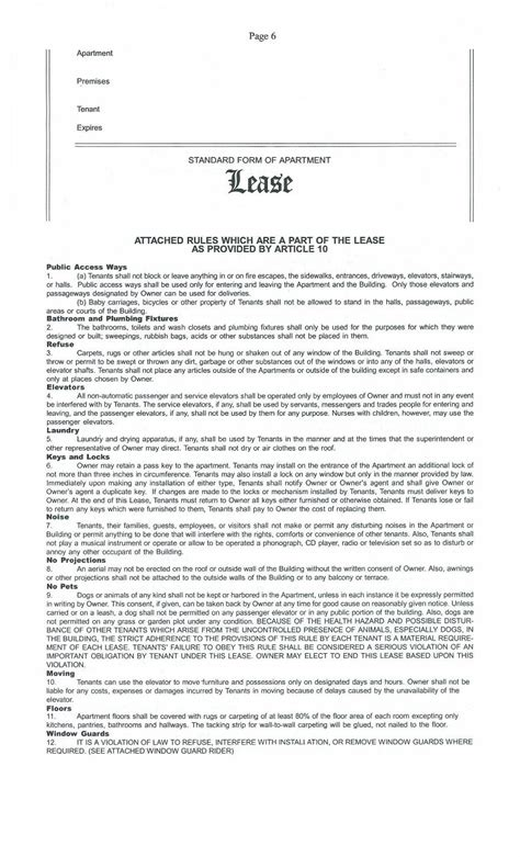 Standard Lease Rider Lease Rider Template