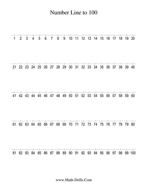printable number line 0 60 number line to 100 counting by 1 1