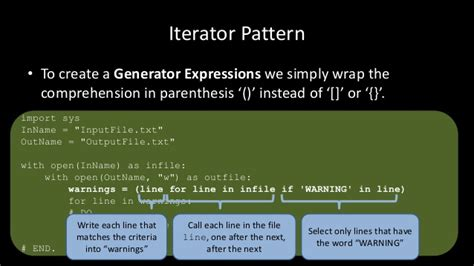 Pattern Generator In Python | python the iterator pattern generators