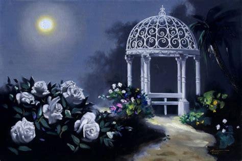 moonlight white roses flowers nature background