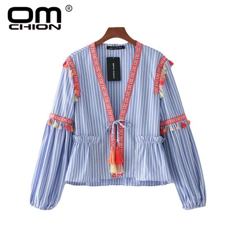 Tassel Blouse By Fashion omchion tops 2017 vintage striped tassel blouse fashion sleeve ribbon shirt