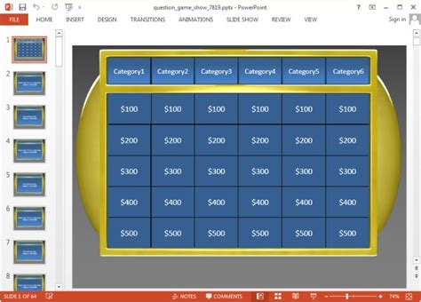 Jeopardy Game Templates For Powerpoint Jeopardy Powerpoint 2010 Template
