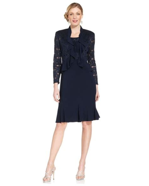 r m richards dresses r m richards r m richards metallic a line dress and ruffled jacket in black navy lyst