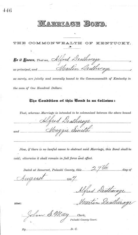 County Ky Marriage Records Kentucky Marriage Records To Marion County