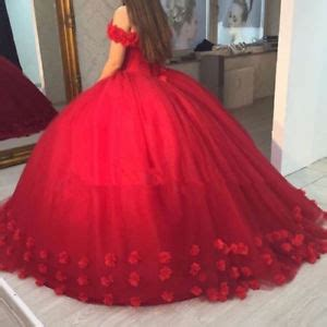red quinceanera dresses flowers off shoulder prom party