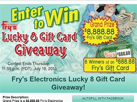 Frys Electronics Gift Card - fry s electronics inc s fry s lucky 8 gift card facebook sweepstakes sweepstakes