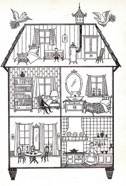 coloring pages of a doll house all sizes dollhouse l950 s via flickr coloring pages