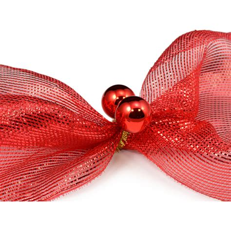 3 quot gold tinsel ties w 50mm balls red set of 12