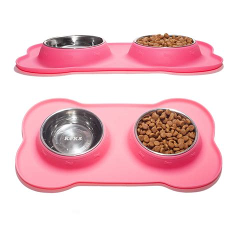 Pet Mangkok Wetnoz Stanles Small set of 2 stainless steel bowls with non skid no