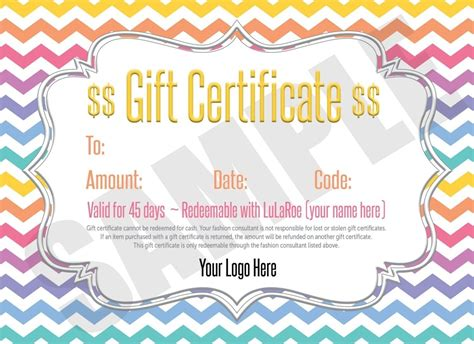 Cash Gift Free Gift Cards - free lularoe gift certificate template journalingsage com