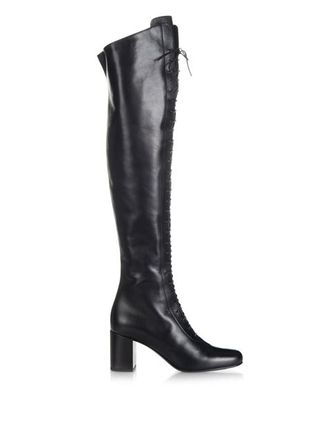 the knee black leather boots laurent lace up leather the knee boots in black lyst