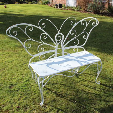 outdoor butterfly bench cream metal ornate butterfly garden bench melody maison 174