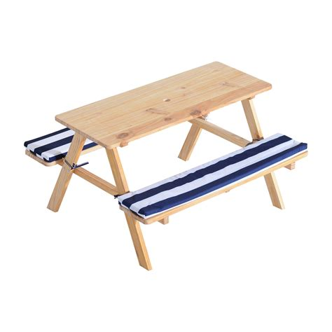 kids bench table qaba wooden outdoor kids picnic table with padded benches