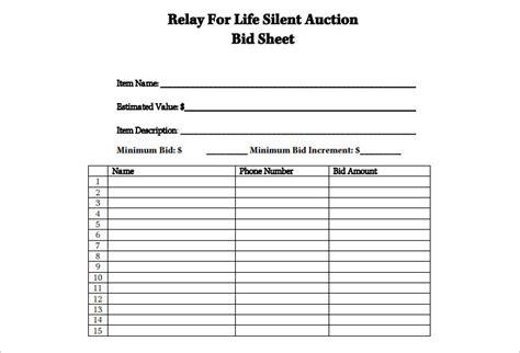 silent auction sheet templates franklinfire co