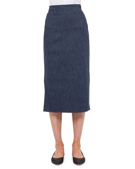 akris denim pencil skirt in blue denim lyst