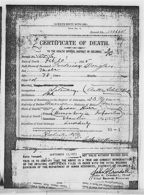 Find Dead Peoples Records Certificate Of Frederick Douglass