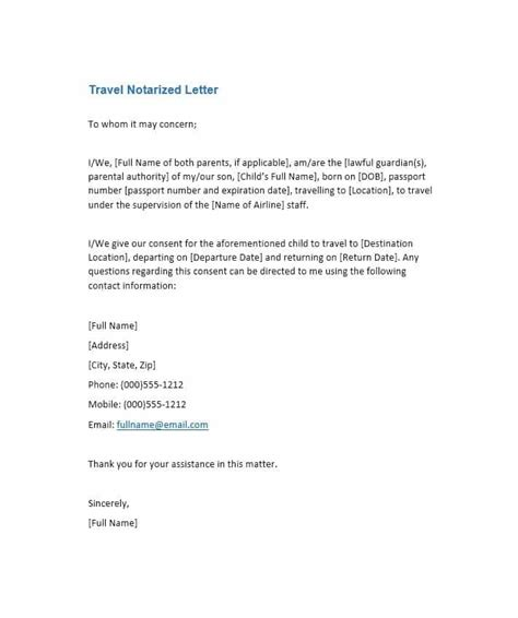 Free Notarized Letter Template Sle Format Exle Template Section Notarized Letter Template For Child Support