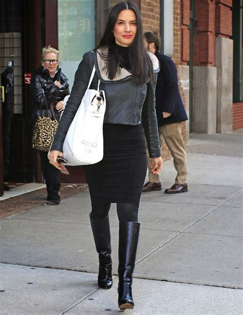olivia munn boots celebrities in leather olivia munn wears a black leather
