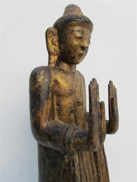 vintage wooden l base antique carved wooden gilded statue of standing buddha on