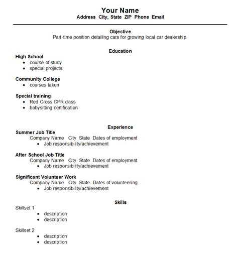 Resume Outline Exle For High School Students Resume Format Resume Format High School Student