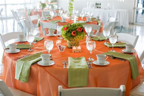 table decor in orange and lime green orange lime