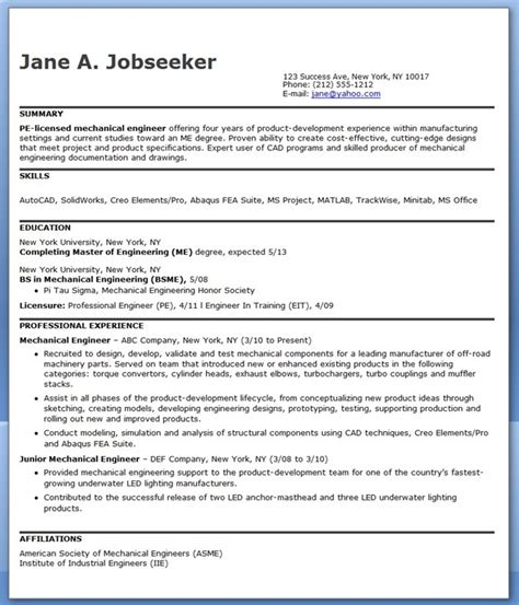 Best Resume Sles For Experienced Engineers Mechanical Engineering Resume Sle Pdf Experienced Creative Resume Design Templates Word