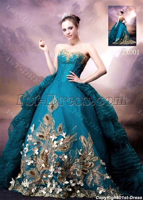 Blue and Gold Luxury Gothic Wedding Dress:1st dress.com