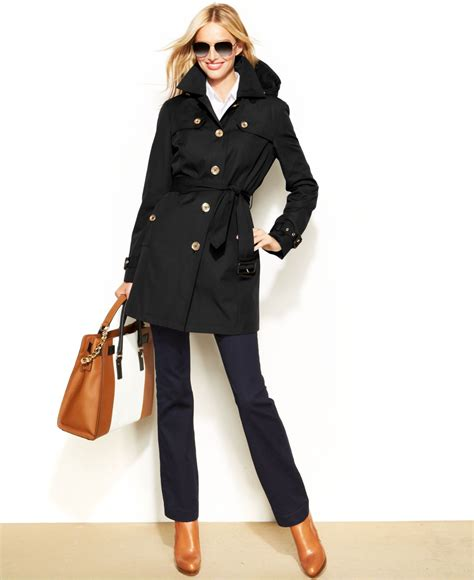 Hooded Buttoned Trench Coat michael kors michael hooded belted trench coat in black lyst